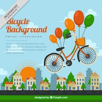 voando bicicleta com fundo balões coloridos
