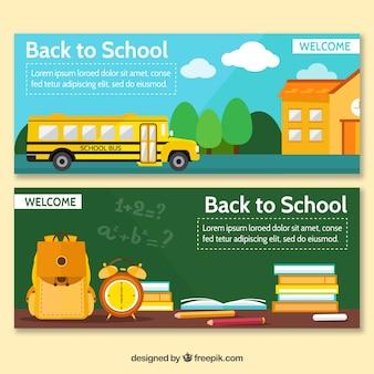Voltar aos banners da escola com ônibus e quadro-negro