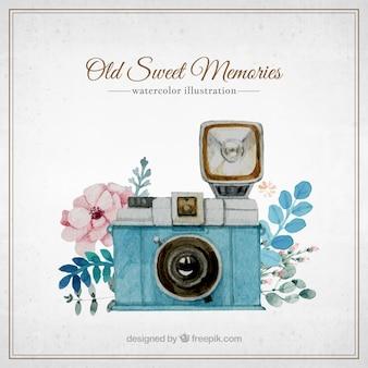 Watercolor câmera retro