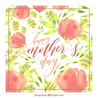Watercolor cartão com flores para o dia da mãe