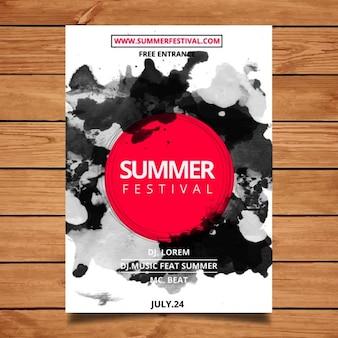 Watercolor cartaz festival de verão