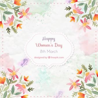 Watercolor decoração floral do dia das mulheres