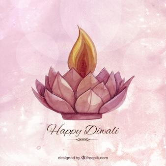 Watercolor Diwali fundo com uma vela