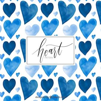 Watercolor padrão azul corações