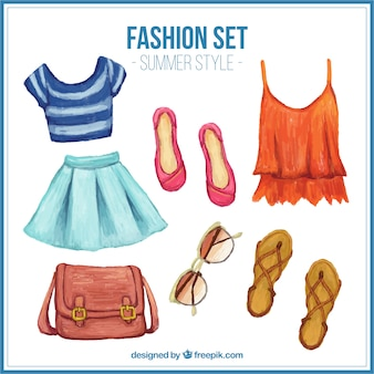 Watercolor roupas de verão bonito