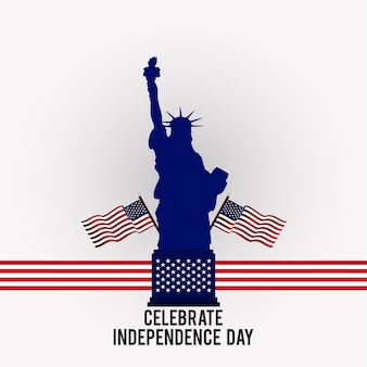 Web4th Dia de América de julho Dia da Independência feliz Bandeiras americanas com a estátua da liberdade no fundo cinzento