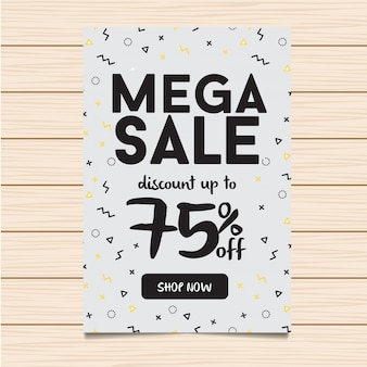 White Mega Sale Banner e Flyer Illustration