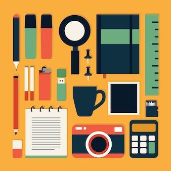 Workplace conceito em design Plano