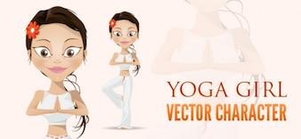 yoga caráter vetor menina