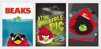 zangado pássaros filme vetor posters
