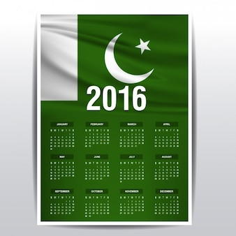 2016 calendario del Pakistan bandiera