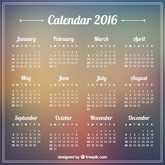 2016 calendario su sfondo sfocato