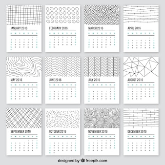 2016 del calendario in stile Doodle