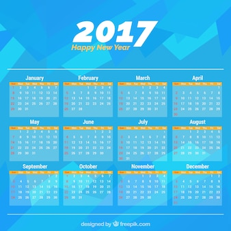 2017 astratto blu calendario