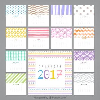 2017 astratto calendario acquerello