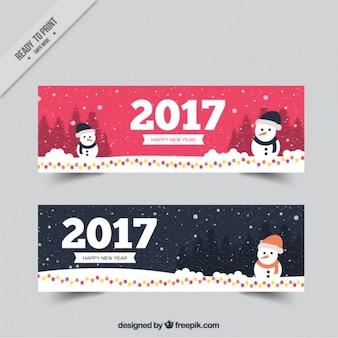 2017 belle bandiere con il pupazzo di neve