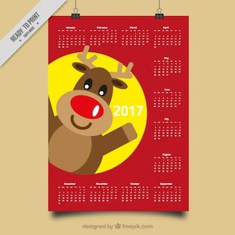 2017 calendario con le renne sorridente