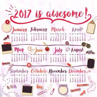 2017 del calendario per le ragazze