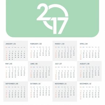 2017 modello di calendario verde con la tipografia creativa