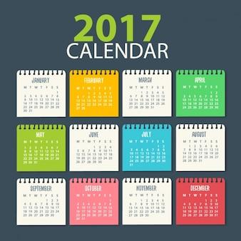 2017 modello di calendario