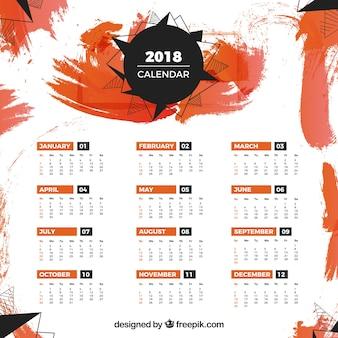 2018 modello di calendario con macchie di colore arancione