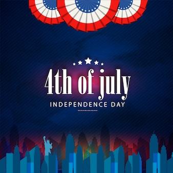 4 Luglio, sfondo American Independence Day con vista sullo skyline di New York.