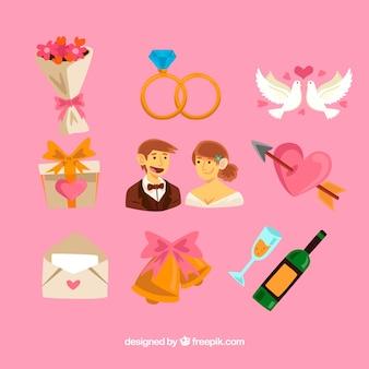 Abbastanza selezione di oggetti di nozze colorati