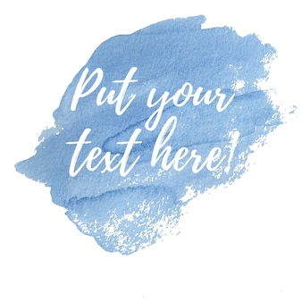 Acquerello blu con il modello di testo