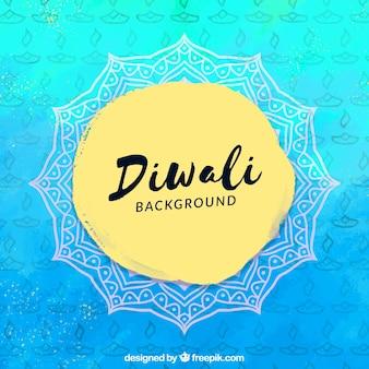 Acquerello blu sfondo di diwali