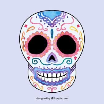 Acquerello colorato cranio messicano