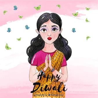Acquerello diwali sfondo con la progettazione di donna