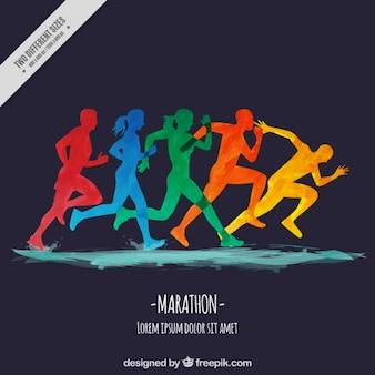 Acquerello maratona di fondo