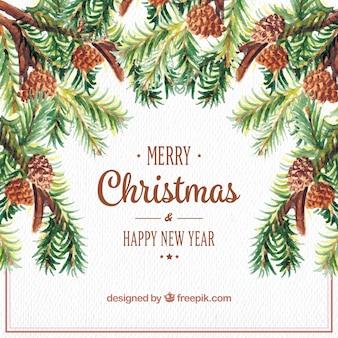 Acquerello Natale e anno nuovo sfondo con pinoli