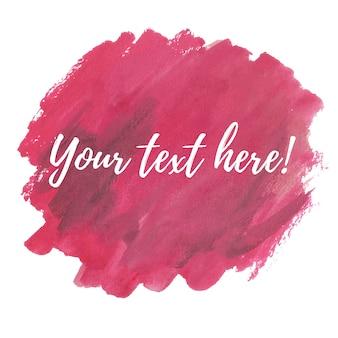 Acquerello rosa con il modello di testo