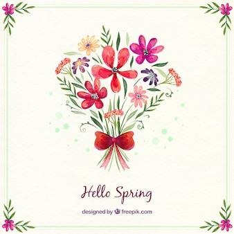 Acquerello sfondo bouquet di fiori