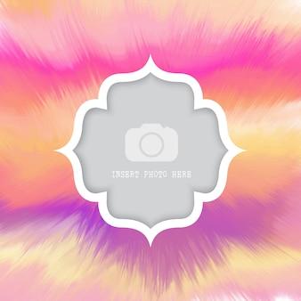 Acquerello sfondo colorato con telaio bianco per foto