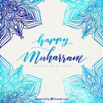 Acquerello sfondo decorativo di nuovo anno islamico