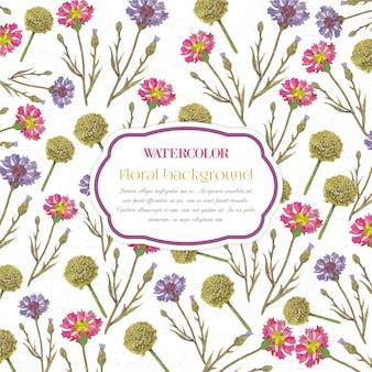 Acquerello sfondo floreale con telaio