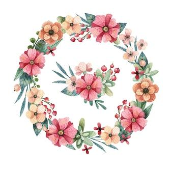 Acquerello sfondo floreale corona