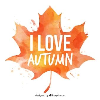 Acquerello sfondo foglia di autunno