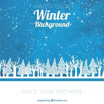 Acquerello sfondo invernale con schizzi di alberi
