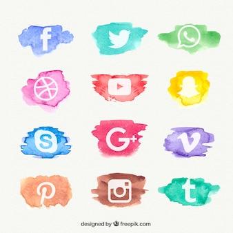 Acquerello social network collezione di icone