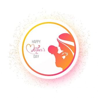 Adesivo, etichetta o marchio di design festa della mamma felice con la silhouette della madre amorosa il suo bambino