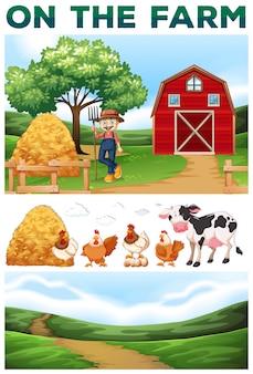 Agricoltore e animali sulla illustrazione fattoria