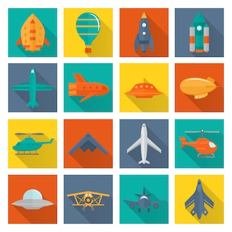 Air transport icons collection
