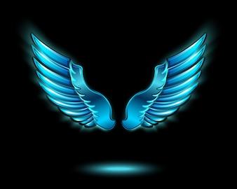Ala d'angelo incandescente blu con lucido metallo e illustrazione vettoriale simbolo ombra