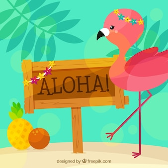 Aloha poster background con bel fenicottero