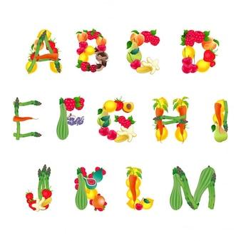 Alphabet composto da frutta e verdura prima parte Vector elementi isolati