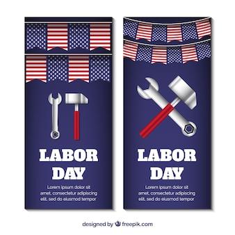 Americano dei banner di giorno del lavoro con gli strumenti
