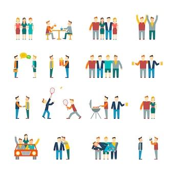 Amici e rapporto amichevole squadra sociale set di icone piatto isolato illustrazione vettoriale